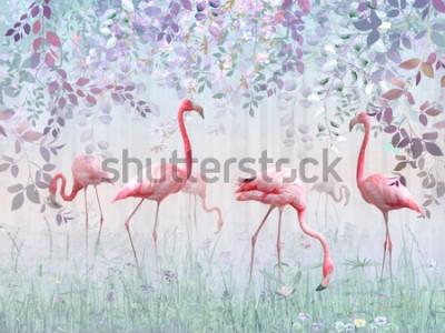 Fototapeta Różowe flamingi w delikatnym ogrodzie w turkusowej mgle. Mural i tapety do drukowania wnętrz.