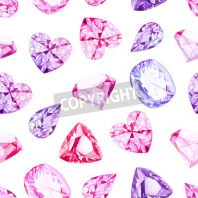 Fototapeta Różowe i fioletowe kryształy diamentu akwarela Jednolite wektor wzorca