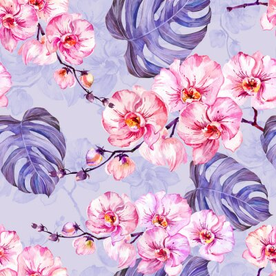 Fototapeta Różowi storczykowi kwiaty z konturami i wielkimi monstera liśćmi na lekkim lilym tle. Bezszwowy wzór. Malarstwo akwarelowe.