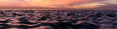 Fototapeta Różowy Sunset Panorama Przez Ocean Waves