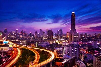Fototapeta Ruch w nowoczesne miasta w nocy, Bangkok, Tajlandia