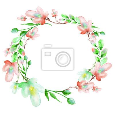 bda6baa88a6390 Fototapeta Runda akwarela ramki, pocztówka, wieniec kwiaty, gałązki,  rośliny, jagody.