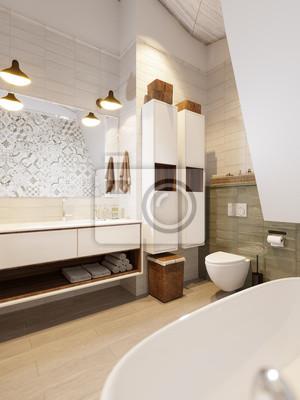 Fototapeta Rustykalne Provence Loft łazienka Pokój Wc Projekt Wnętrza Z