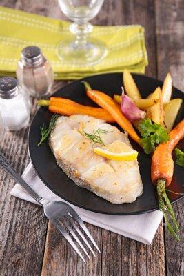 Fototapeta ryby z grilla i warzyw