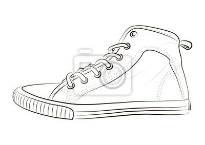 84221225e82ca Fototapeta Rysowane ręcznie szkic obuwia sportowego, trampki na lato.  Ilustracji wektorowych. Odzież sportowa
