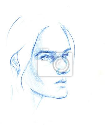 Rysowane Ręcznie Szkic Ołówkiem Z Twarzą Dziewczyny Portret