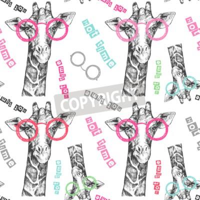Fototapeta Rysowane ręcznie żyrafa. Jasne żyrafy okulary - hipster. Gorący czas. Lato nadrukiem na odzieży, butach, koszulce, raglanie. Wektor. Wzór na tekstylia lub papier
