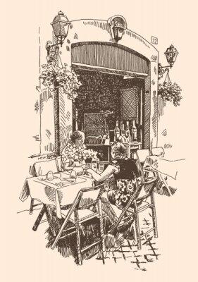 Fototapeta rysunek europejskiej ulicy kawiarni na świeżym powietrzu w Rzymie, Włochy