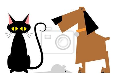 Rysunek Kot Pies I Mysz Fototapeta Fototapety Mysz Komiczny