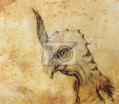 Rysunek Ołówkiem Ptak Smok Na Tle Starego Papieru Fototapeta