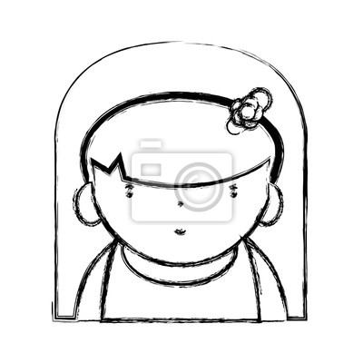 Rysunek Piękna Dziewczyna Z Fryzurą Do Kawaii Avatar Fototapeta