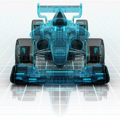 Fototapeta Samochód Formuły technologii karkasy szkic frontview