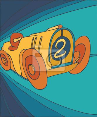 Fototapeta samochód retro, samochód, ilustracji wektorowych