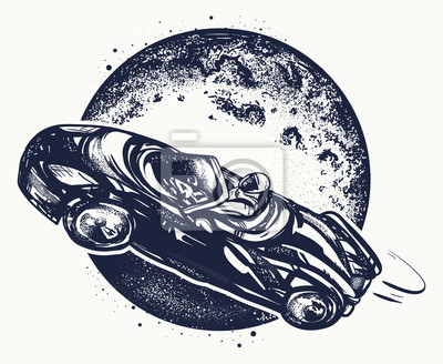 Fototapeta Samochód W Przestrzeni Tatuaż I T Shirt Projekt Symbol Nauki