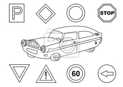 Samochodow I Znaki Drogowe Kolorowanka Fototapeta Fototapety