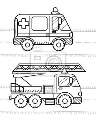 Samochody I Pojazdy Kolorowanka Dla Dzieci Pogotowie Straz