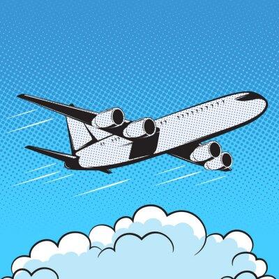 Fototapeta Samolot stylu retro pop-artu powietrza