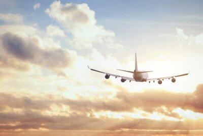 Fototapeta samolot w niebo słońca