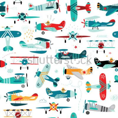 Fototapeta samoloty chłopięce wzór bez szwu