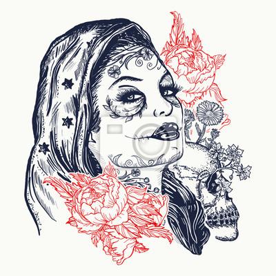 Fototapeta Santa Muerte Kobieta Tatuaż Czaszka Cukrowa Santa Muerte Mexican
