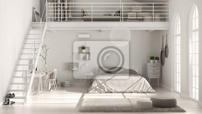 Fototapeta Scandinavian Biały Minimalistyczny Poddaszu Sypialnia Z Domowym