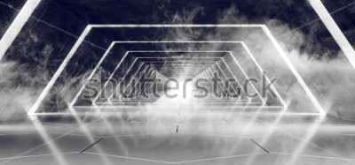 Fototapeta Sci Fi Modern Futurystyczny Dark Empty Smoke and Fog Beton Tiled Alien Tunnel Korytarz Z White Glow Reflective Surface Elegancki Background Ilustracja 3D Rendering