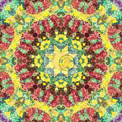 Fototapeta Seamless abstract pattern kaleidoscopic mosaic ornamental tile