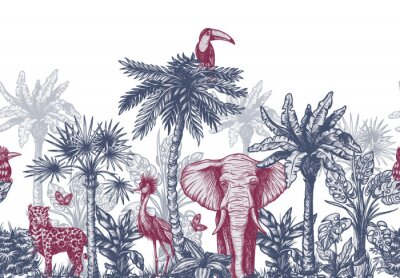 Fototapeta Seamless border with graphical tropical tree such as palm, banana and jungle animals. Vector.