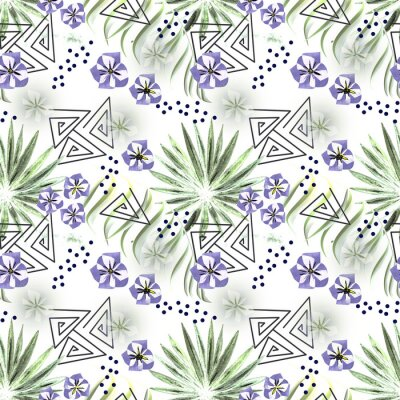 Fototapeta Seamless colorful tropical pattern. Leaves of a palm tree, flowers white background .
