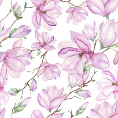 Fototapeta Seamless floral pattern with magnolias painted with watercolors on white background