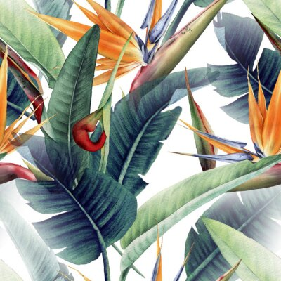 Fototapeta Seamless floral pattern with tropical leaves and strelitzia on light background. Template design for textiles, interior, clothes, wallpaper. Watercolor illustration