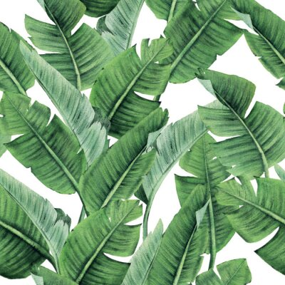 Fototapeta Seamless floral pattern with tropical leaves on light background. Template design for textiles, interior, clothes, wallpaper. Watercolor illustration