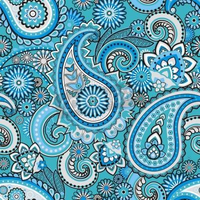 Fototapeta Seamless pattern based on traditional Asian elements Paisley