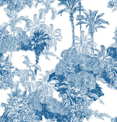 Fototapeta Seamless Pattern Blue and White Cobalt Tropical Jungles with Palms and Mountains, Blue Rainforest Toile Print, Tropical Engraving Illustration Wallpaper Mural, Classic Hand Drawn Landscape Design