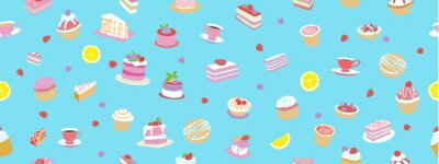 Fototapeta Seamless pattern. Confectionery products on a blue background. Vector hand graphics