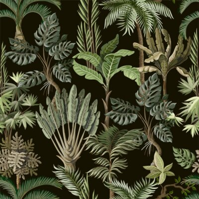 Fototapeta Seamless pattern with exotic trees such us palm, monstera and banana. Interior vintage wallpaper.