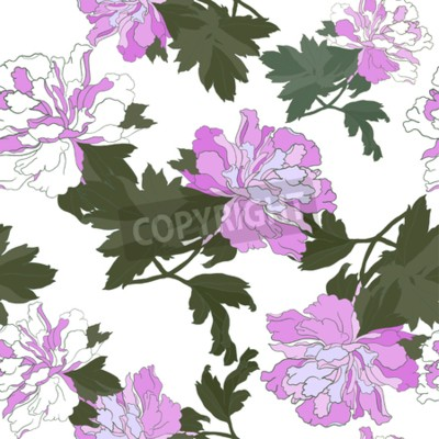 Fototapeta Seamless pattern with Flower Peony. Floral Design Vector illustration.