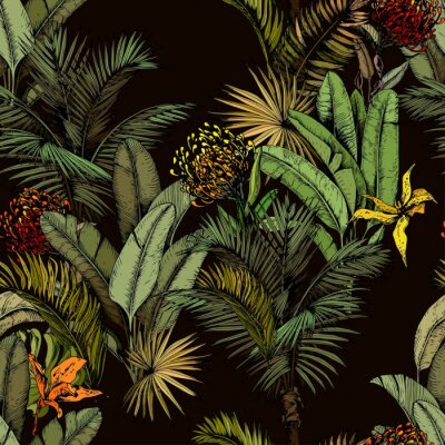 Fototapeta Seamless pattern with green tropical leaves and exotic flowers. Hand drawn vector illustration on black background.