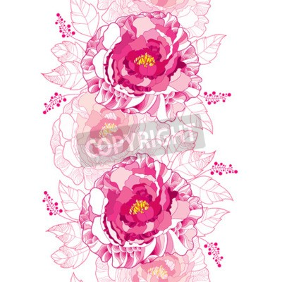Fototapeta Seamless pattern with outline peony flower and ornate leaf in pastel pink colored on the white background. Floral vertical border with contour blossoming peonies for summer design.