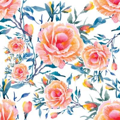 Fototapeta Seamless patterns with Beautiful flowers, watercolor illustration