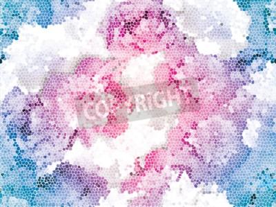 Fototapeta Seamless peony mosaic. Pink blue flower pattern. Peony texture