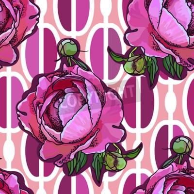 Fototapeta Seamless trend pattern - peony flower on ornamental background. Vintage style