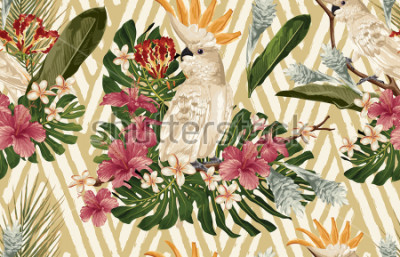 Fototapeta Seamless tropical pattern background with tropical flowers and cockatoo bird. Tropicana wallpaper, digital paper, raster illustration in vintage Hawaiian style.