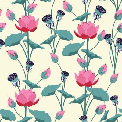 Fototapeta Seamless vector illustration with delicate lotus flowers.