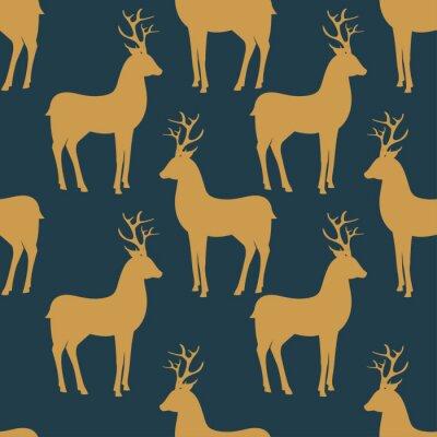 Fototapeta Seamless vector pattern with deer