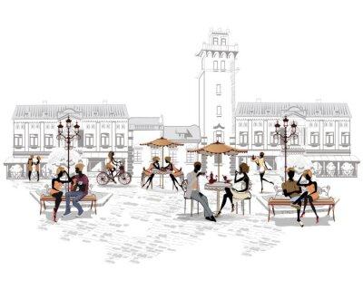 Fototapeta Seria kawiarni ulicznych w mieście z osób pijących kawę
