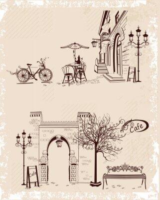 Fototapeta Seria środowisk ozdobione widokiem na Stare Miasto i ulicznych kawiarenek.