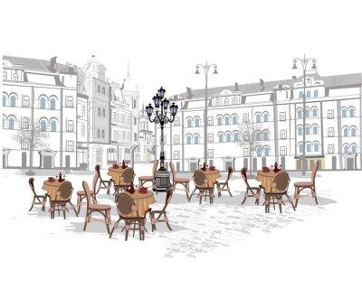 Fototapeta Seria tła ozdobione starymi widokami miasta i kawiarni ulicznych. Ręcznie rysowane ilustracji wektorowych.