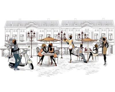 Fototapeta Seria ulicach ludzi i muzyków w starym mieście