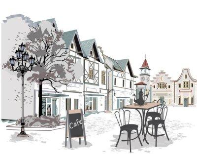 Fototapeta Seria ulicy kawiarni w starej części miasta